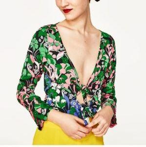 Zara Green Floral Tie Front Deep V Bodysuit S